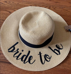 Bride to Be Natural Color Paper Wide Brim Straw Hat