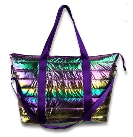 Metallic Puffer Tote Weekender w/ Decorative Straps (ships mid July)