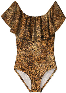 Cheetah Ruffle Bathing Suit