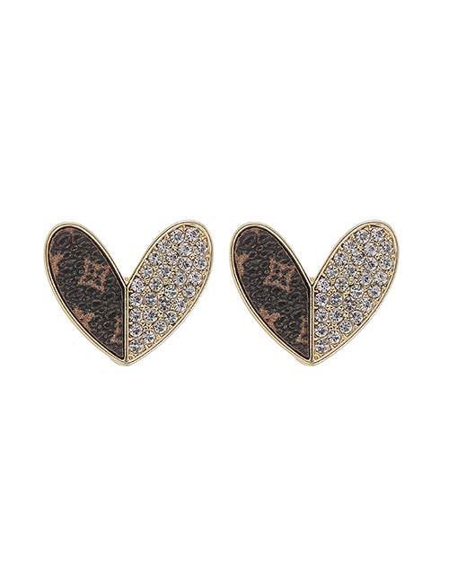Koko and Lola - UPCycled  Genuine LV Leather Heart Earrings Swarovski Accent