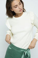 Load image into Gallery viewer, Shoulder Ruffle Crew Neck Heather Ivory Sweater