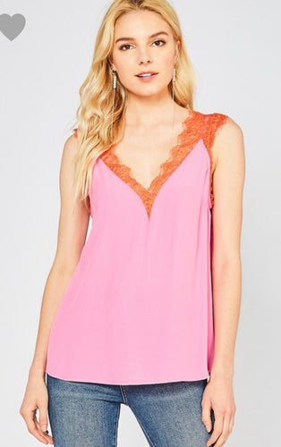 Orange & Pink Color Block Lace Blouse