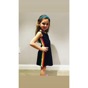 Dori Creations Black Neon Striped Dress