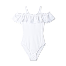 Load image into Gallery viewer, White Ruffle Bathing Suit for Girls
