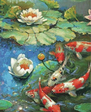 Load image into Gallery viewer, Lotus Flower & Koi Fish