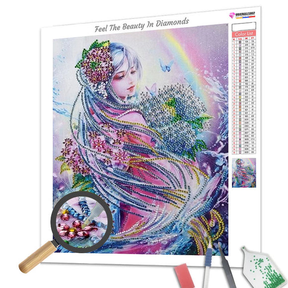 Special Shaped Diamond Painting - Lady and Rainbow