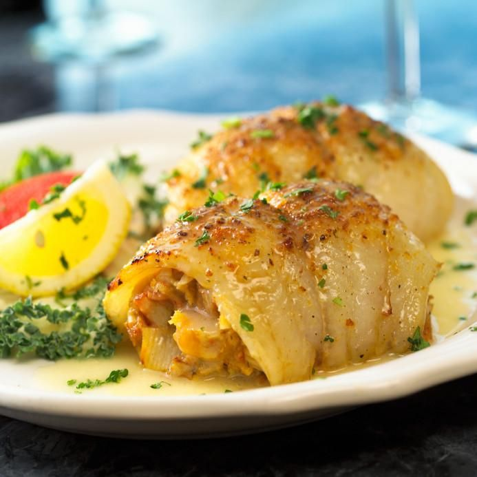 Sole Stuffed with Imitation Crab and Shrimp