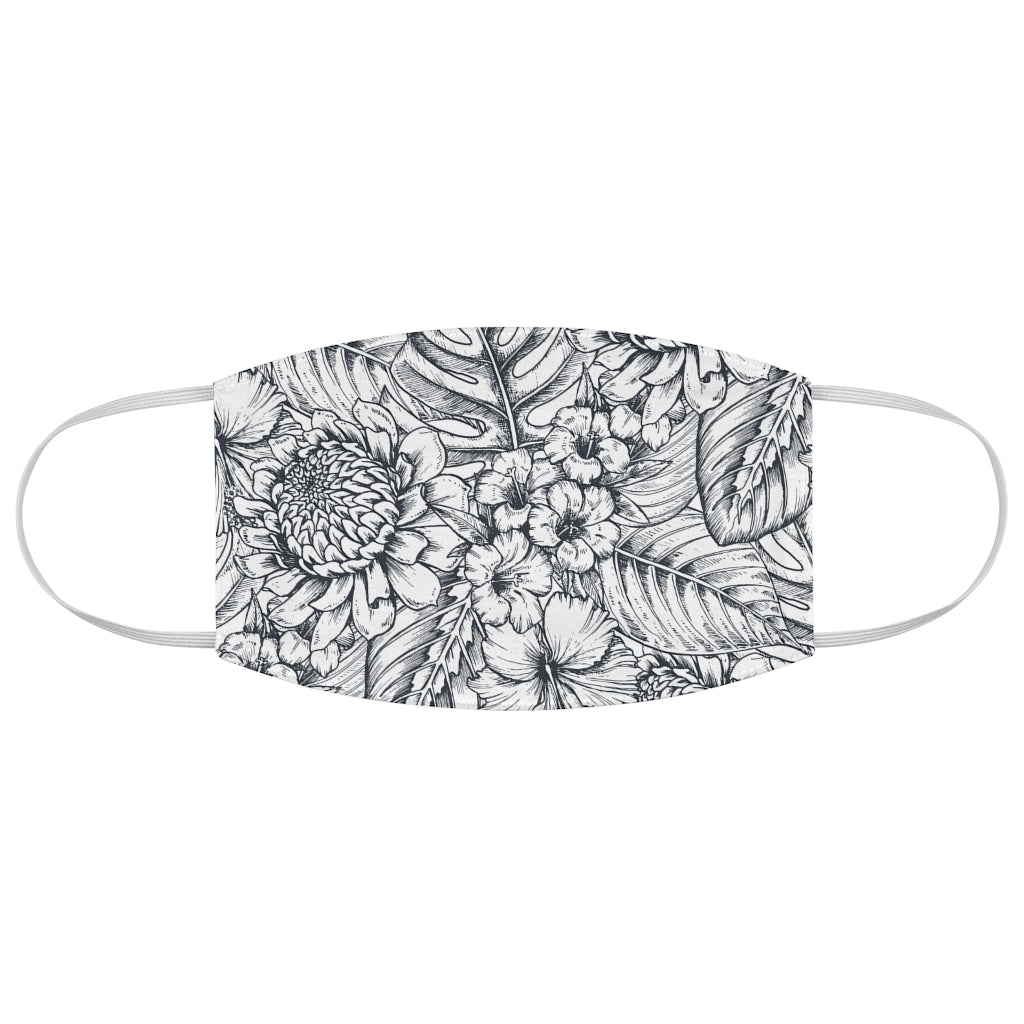 Coloring Book Flowers Jersey Knit Face Mask