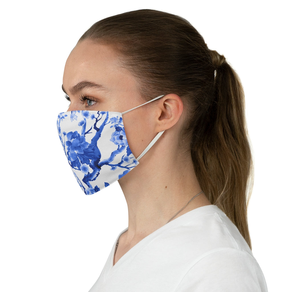 Blue Chinoiserie Jersey Knit Face Mask