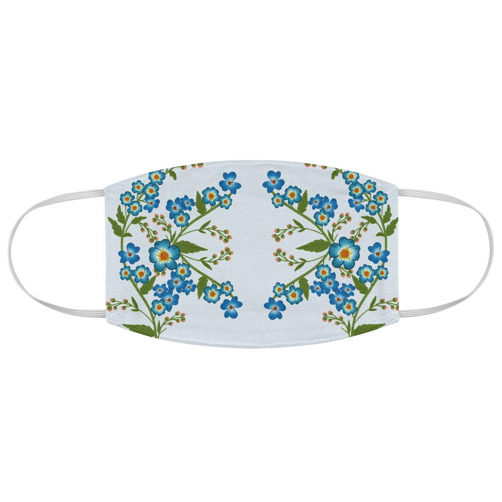 Blue Daisy Jersey Knit Face Mask