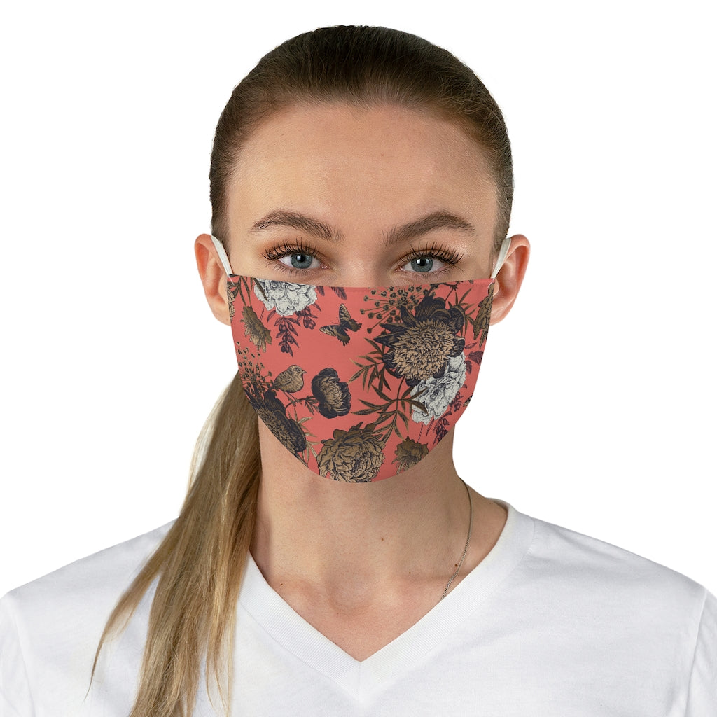 Coral Chinoiserie Jersey Knit Face Mask