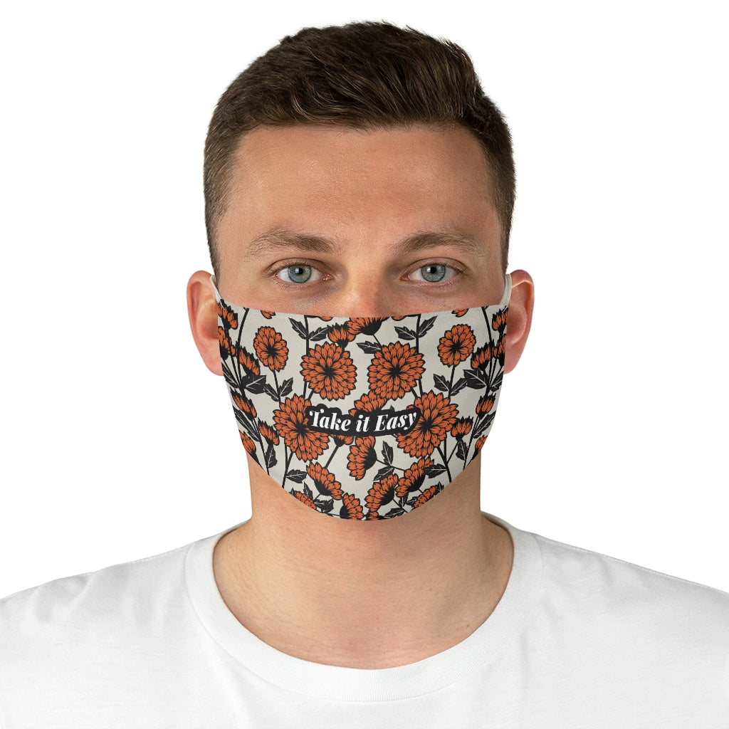 Take it Easy Retro Floral Jersey Knit Face Mask