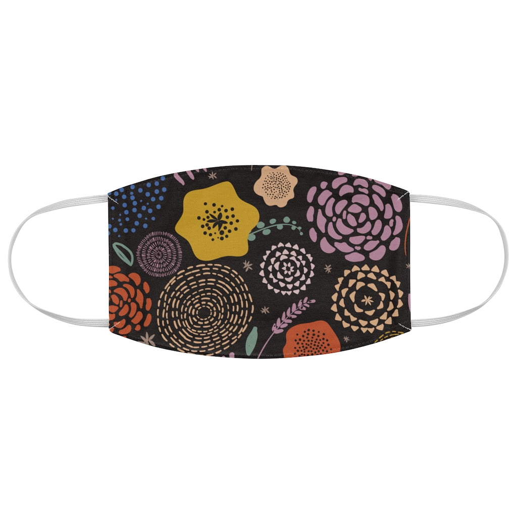 Flat Flowers Jersey Knit Face Mask