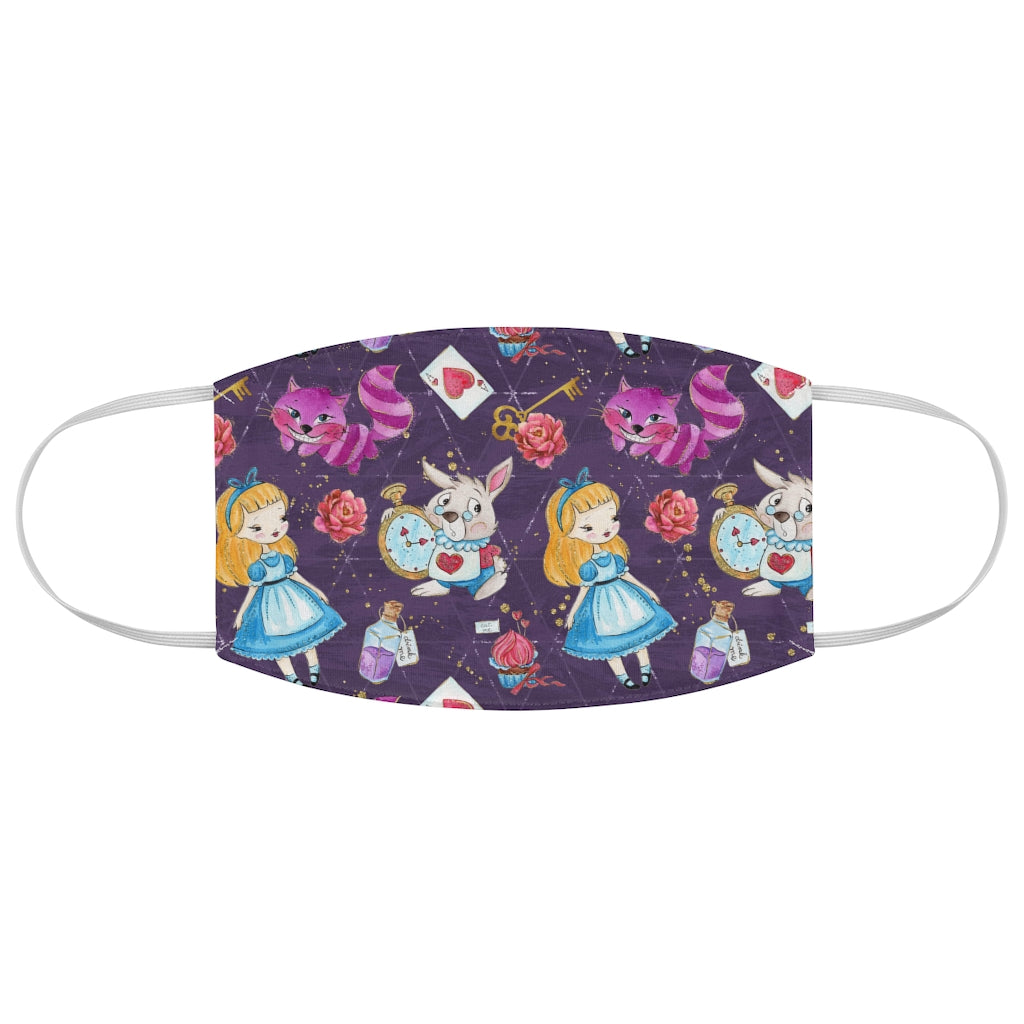 Alice in Wonderland Jersey Knit Face Mask