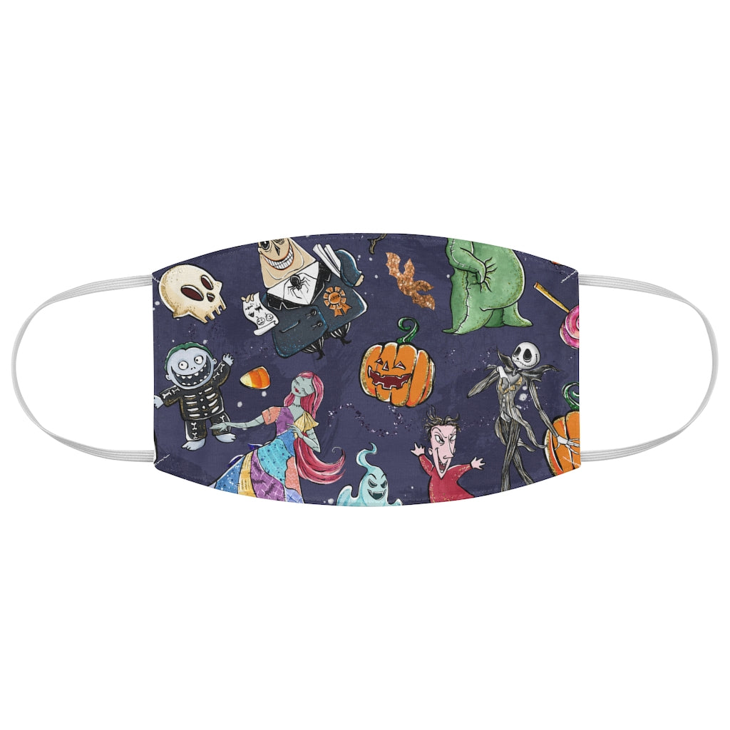 Nightmare Before Christmas Illustrated Jersey Knit Face Mask