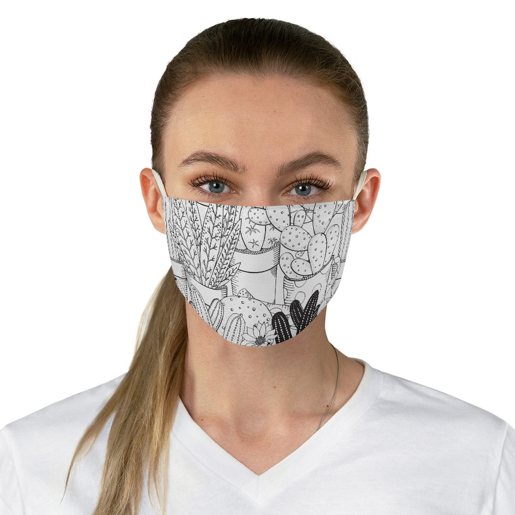 Coloring Book Cactus Jersey Knit Face Mask