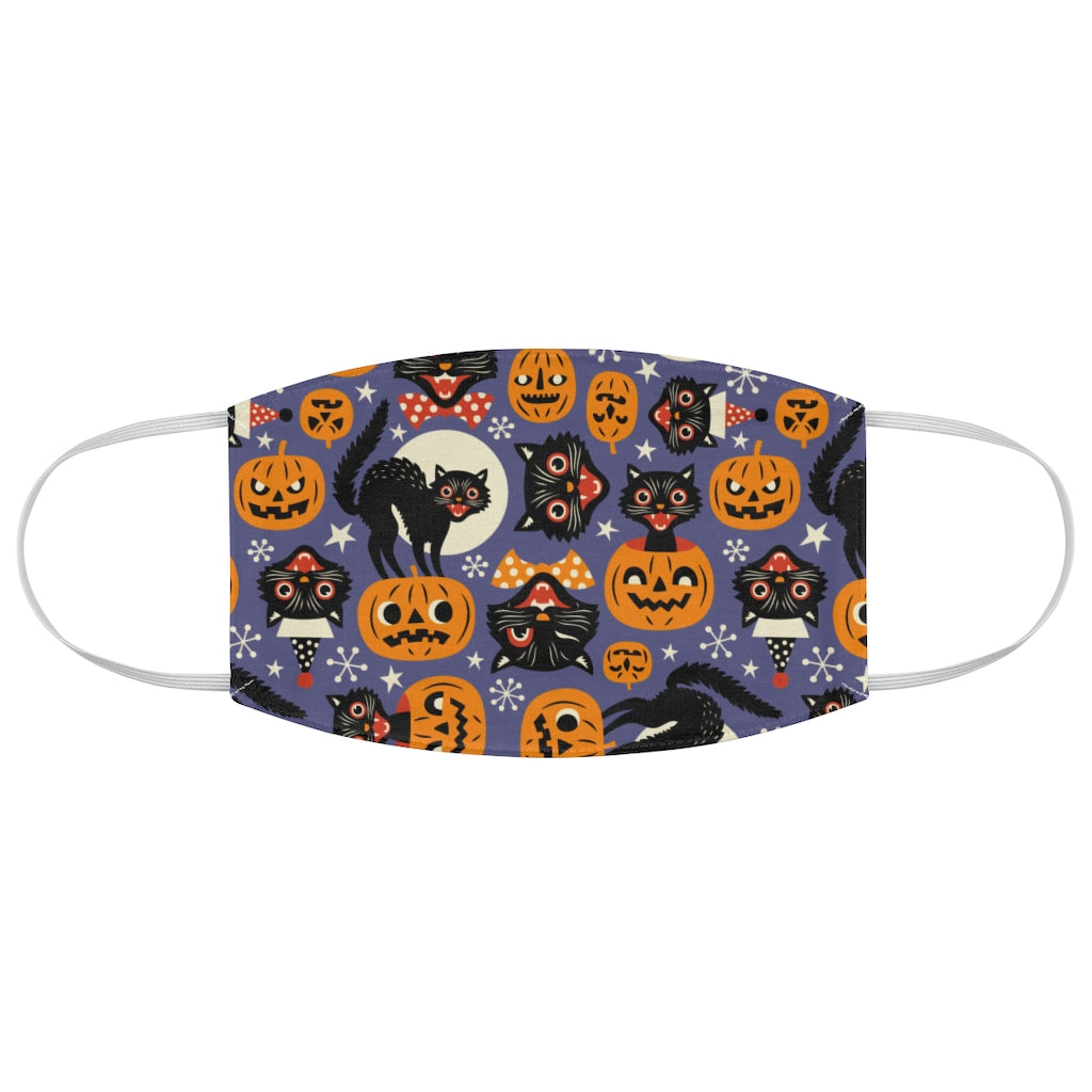 Retro Halloween Black Cat Jersey Knit Face Mask