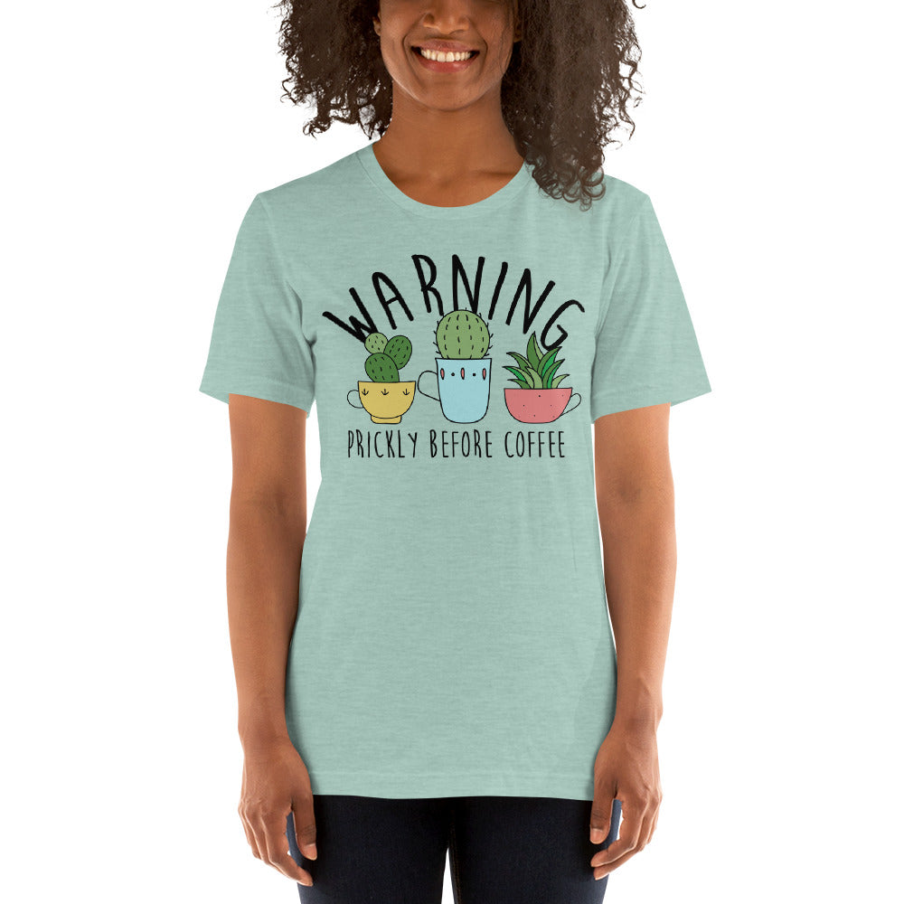Warning: Prickly Before Coffee Kawaii Cactus Teacup Tee