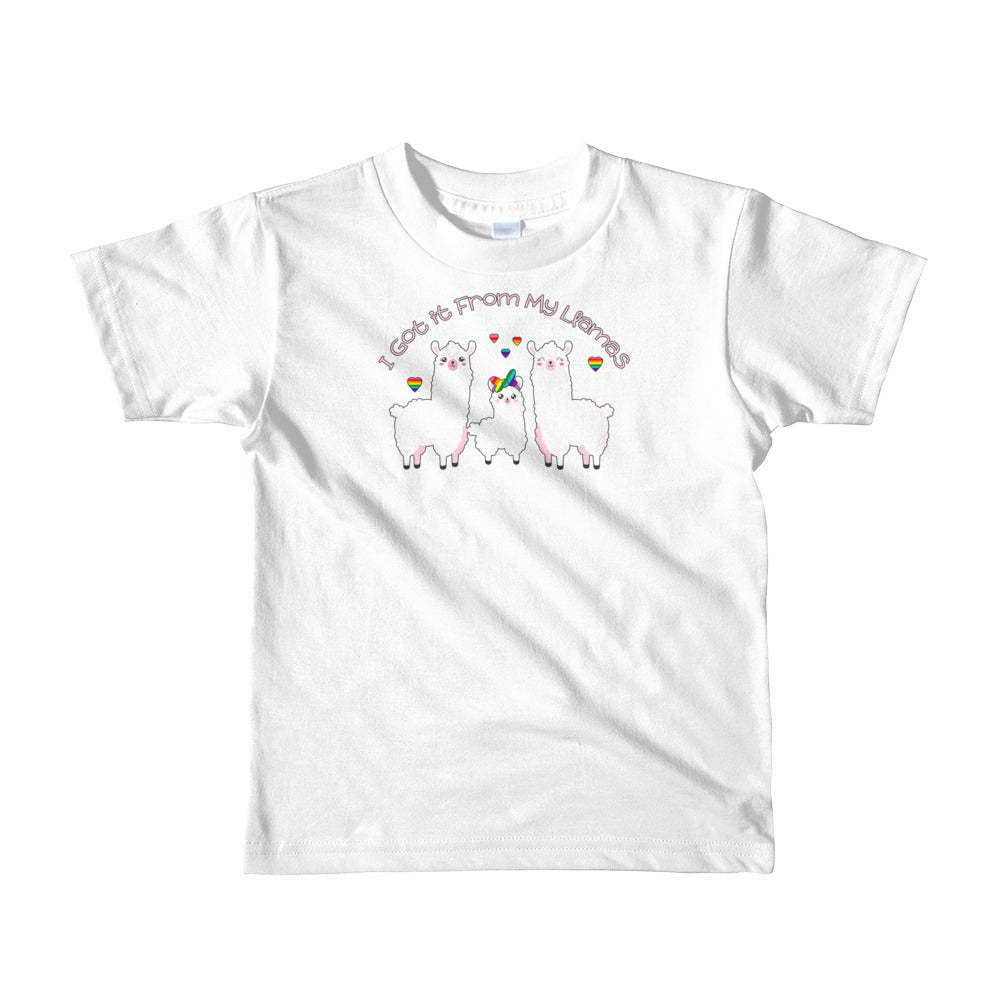 """I Got it From My Llamas"" LGBTQ+ Inclusive Family Short Sleeve Kids T-shirt (Hairbow)"