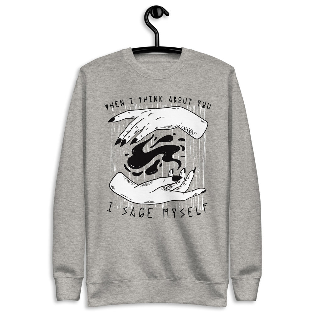 When I Think About You, I Sage Myself Witchy Unisex Fleece Pullover