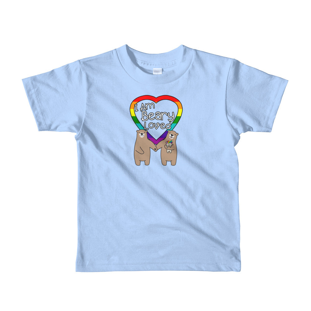 """I Am Beary Loved"" LGBTQ+ Inclusive Family Short Sleeve Kids T-shirt (Hairbow)"