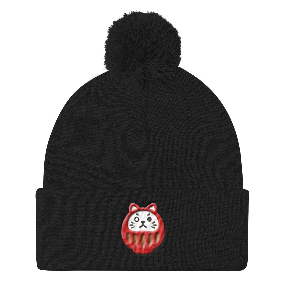 Daruma Neko Motivated Pom Pom Knit Cap