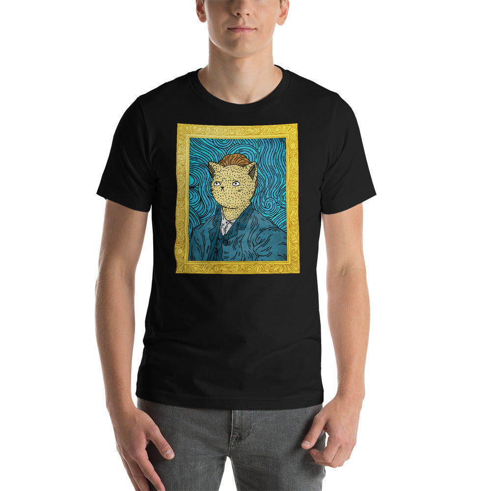 Van Gogh Self Pawtrait Cat Tee
