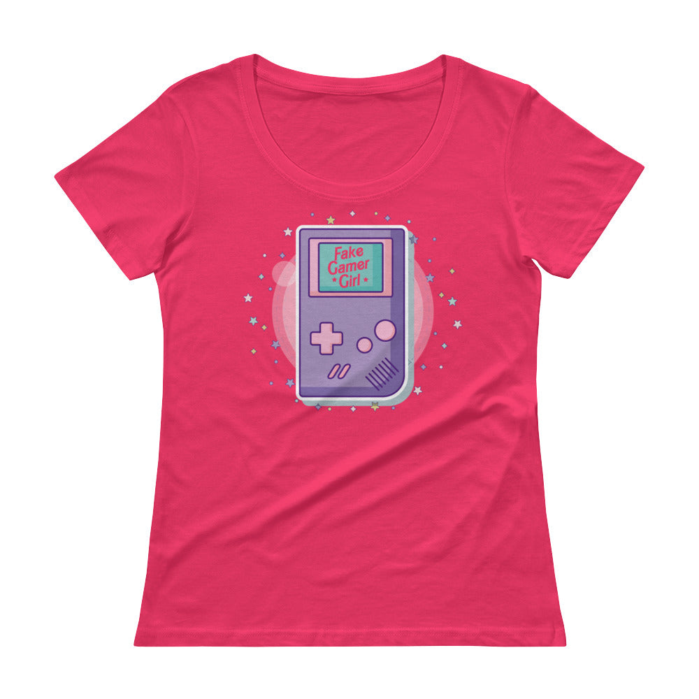 Fake Gamer Girl Barbie Lisa Frank Ladies' Scoopneck Tee