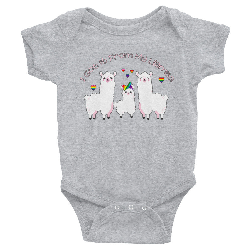 """I Got it From My Llamas"" LGBTQ+ Inclusive Family Infant Bodysuit (Hairbow)"