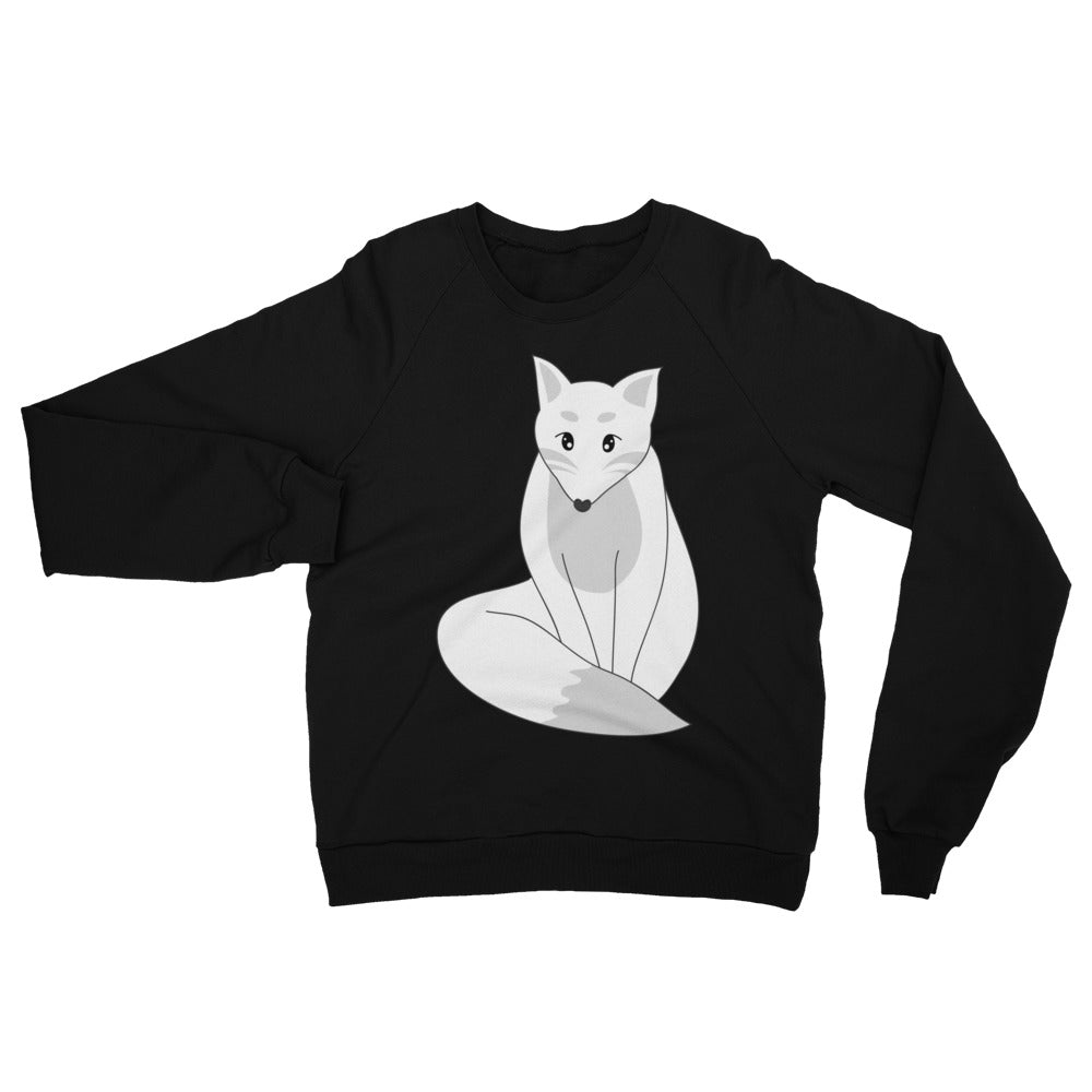 Grayscale Kitsune Japanese Fox Unisex Fleece Raglan Sweatshirt