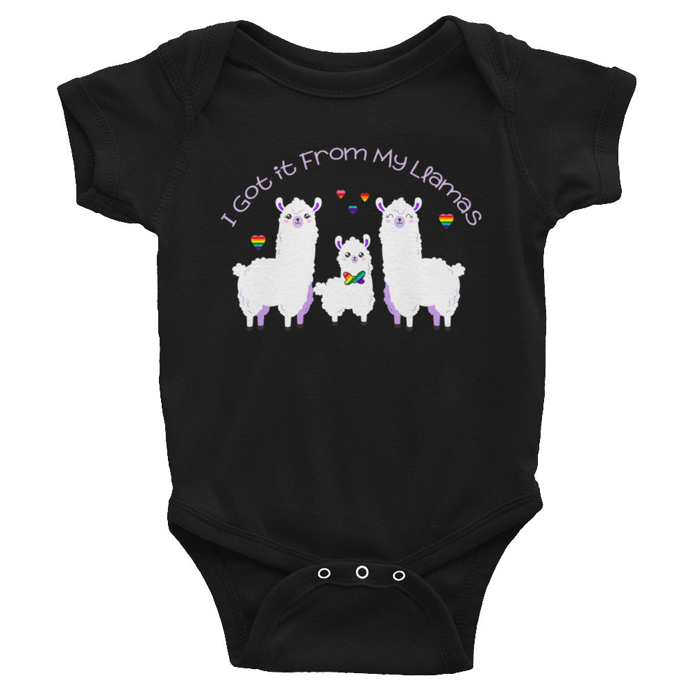"""I Got it From My Llamas"" LGBTQ+ Inclusive Family Infant Bodysuit (Bowtie)"