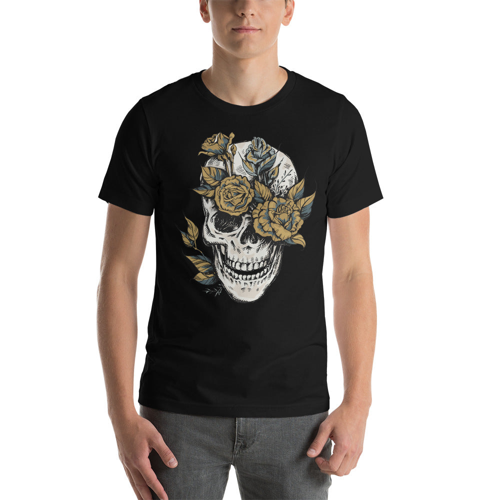 Skull and Roses Spooky Short-Sleeve Unisex T-Shirt