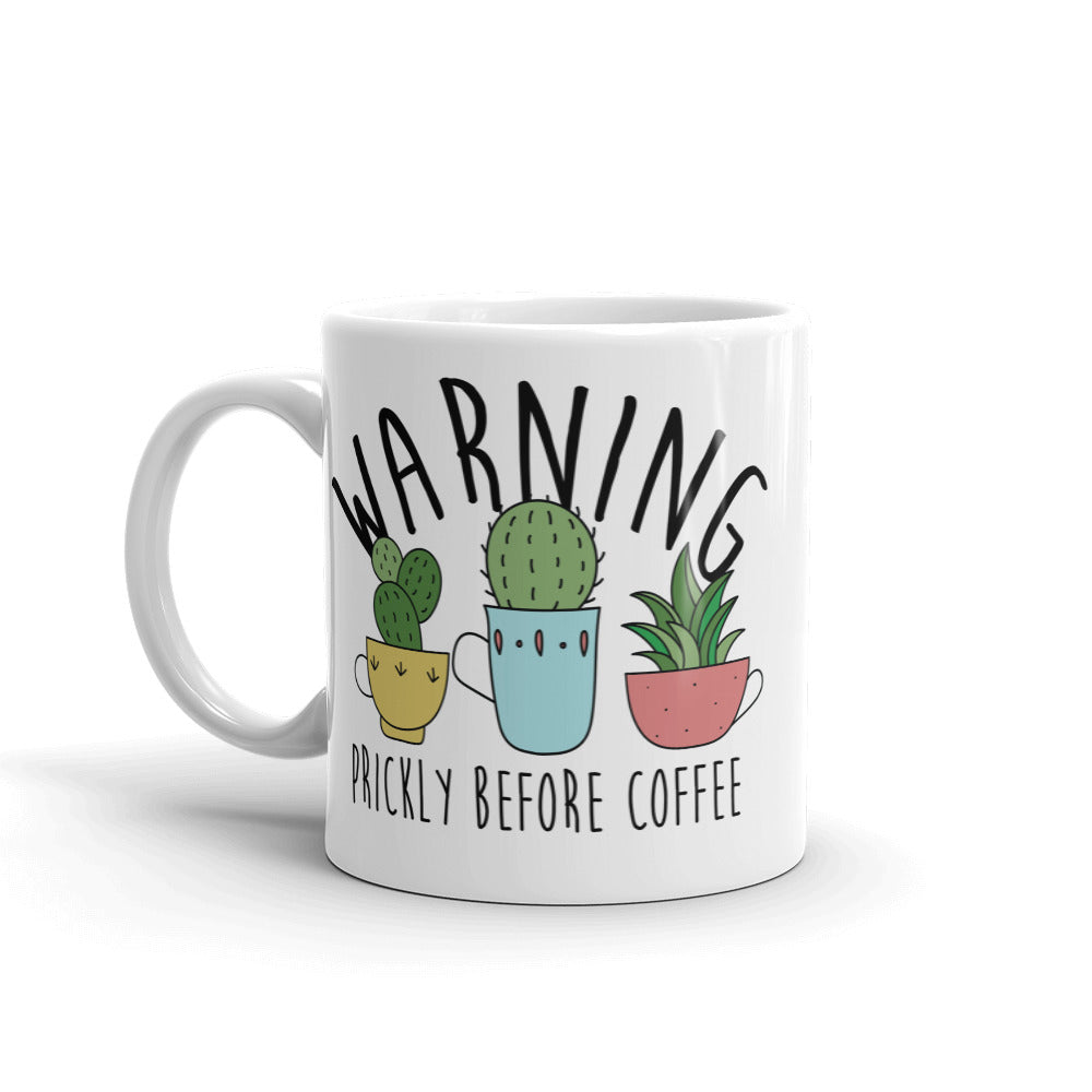 Warning: Prickly Before Coffee Kawaii Cactus Mug
