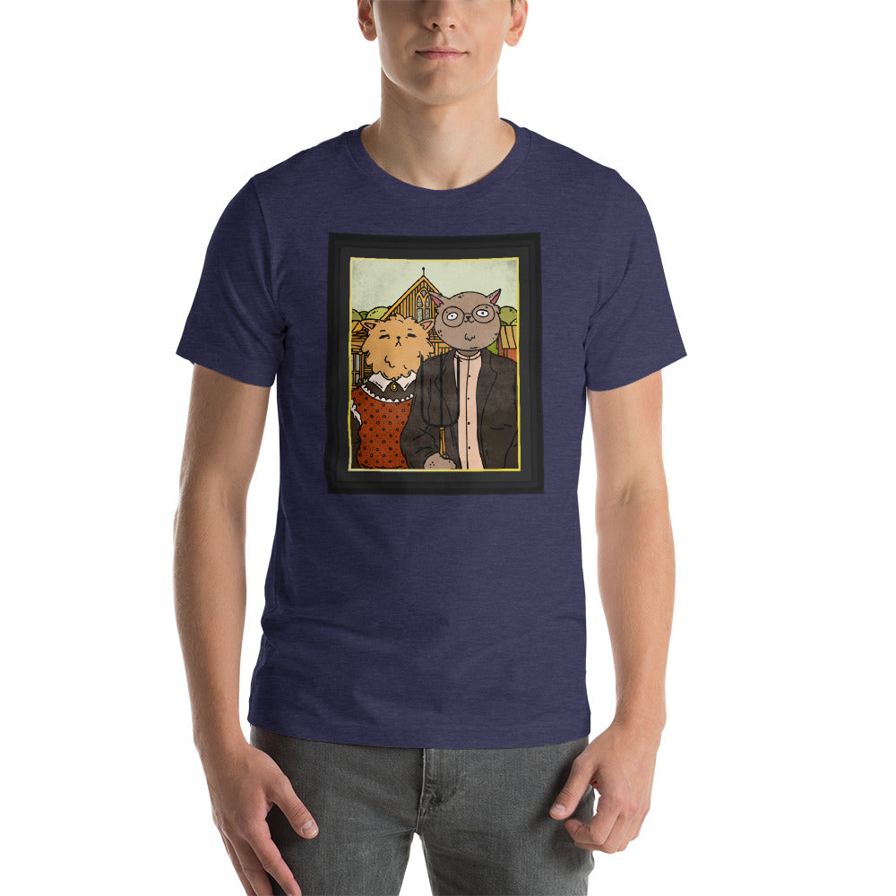 Purrrrrrmerican Gothic by Grant Wood Cat Art Tee