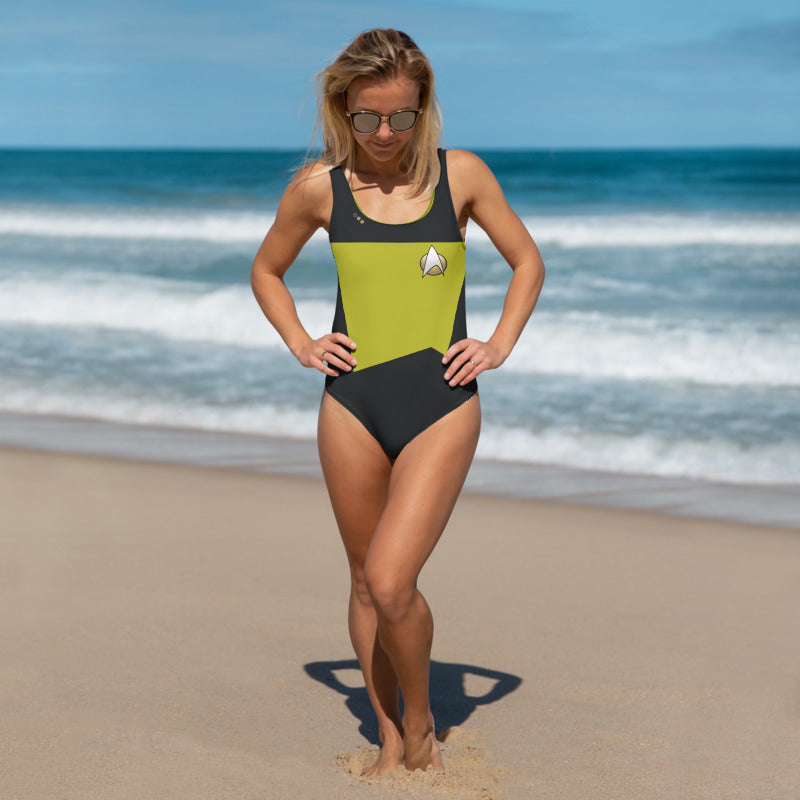 Star Trek Next Generation Lt. Cmdr Data Style One-Piece Swimsuit
