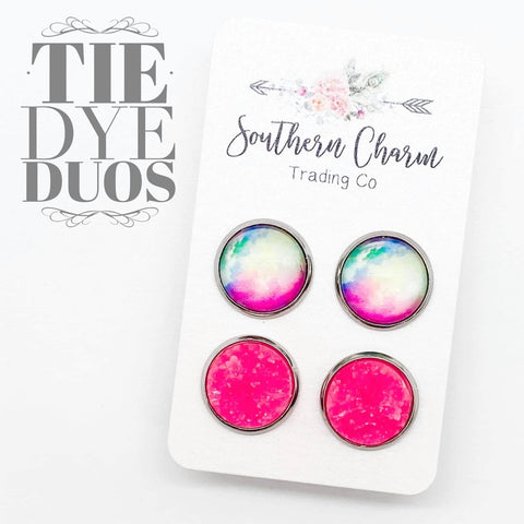 12mm Tie-Dye & Hot Pink Ice in Stainless Steel Settings