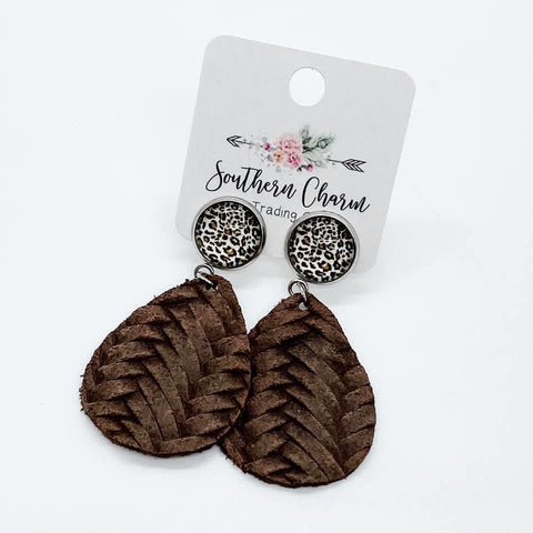 "2"" Leopard & Brown Braided Dangles"