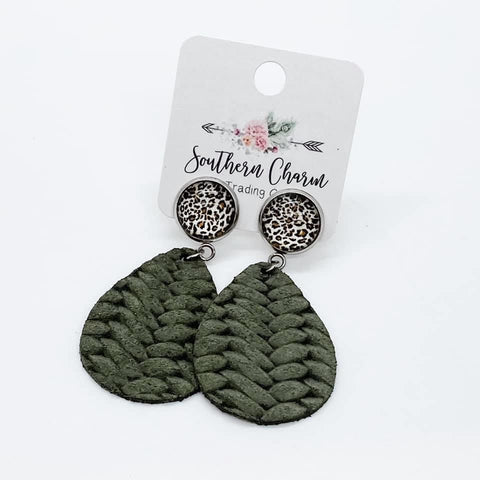 "2"" Leopard & Olive Braided Dangles"