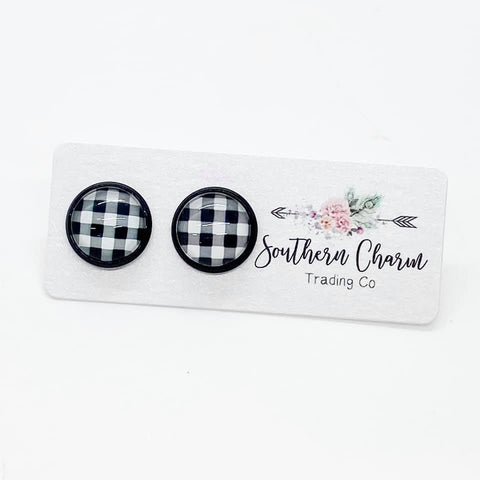 12mm White Buffalo Plaid in Black Settings