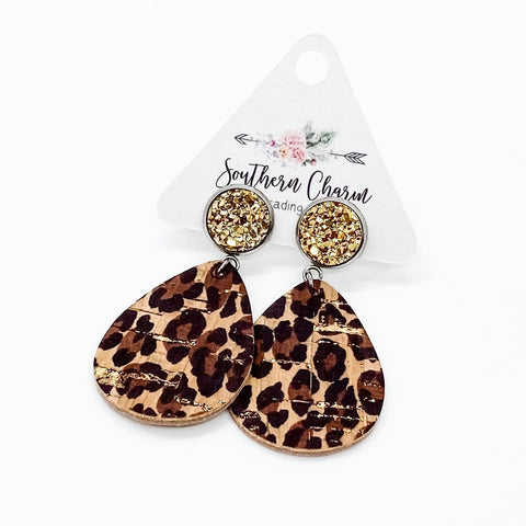 "2"" Metallic Gold Leopard Dangle Corkies"