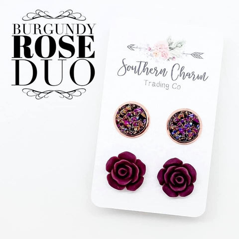 10mm Iridescent Rose Gold & 12mm Burgundy Roses in Rose Gold