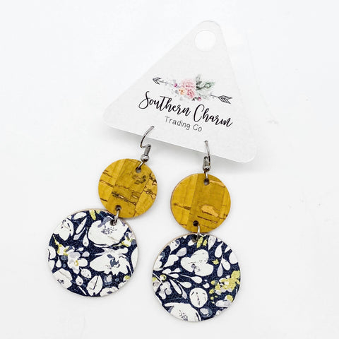 Yellow & Navy Floral Double Corkies