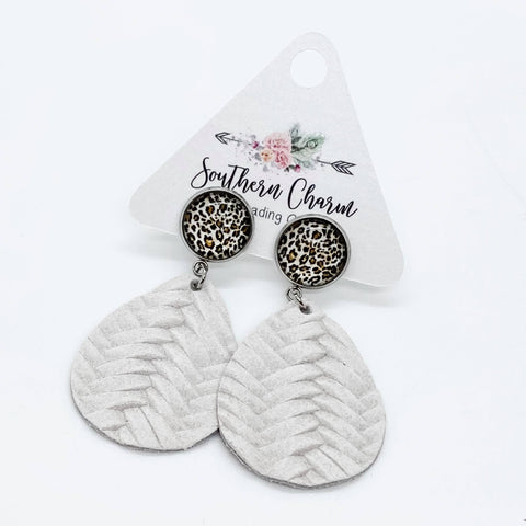 "2"" Leopard & Winter White Braided Dangles"