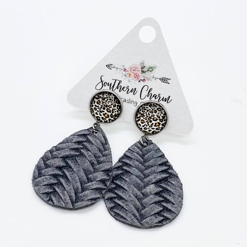 "2"" Leopard & Grey Braided Dangles"
