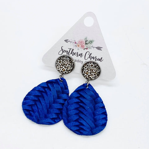 "2"" Leopard & Royal Blue Braided Dangles"