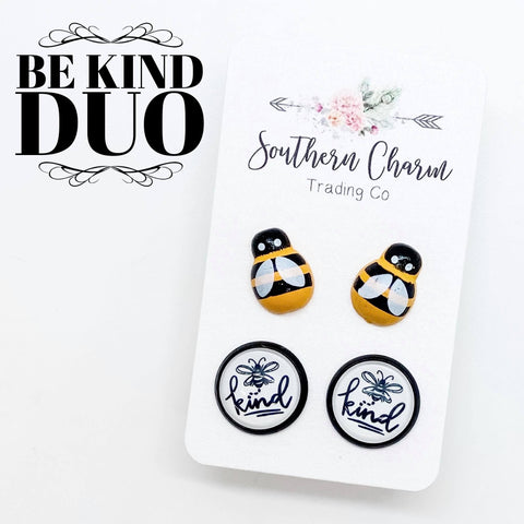 12mm Bees & Bee Kind in Black Settings