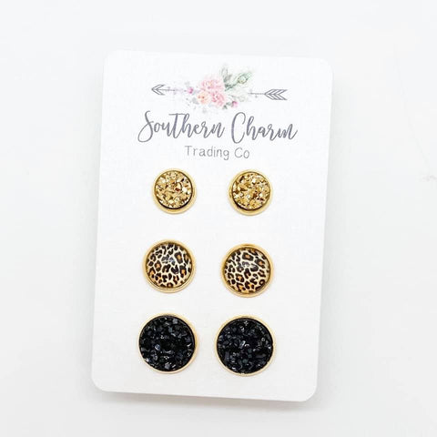 8mm Gold/10mm Golden Leopard/12mm Black in Gold Settings