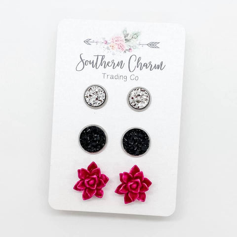 8mm Silver/10mm Black/12mm Vintage Hot Pink Succulent in Stainless Steel Settings