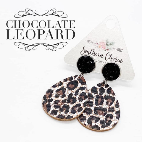 "2"" Black & Chocolate Leopard Dangle Corkies"