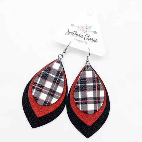 "3"" Red/Black Tartan Plaid/Red/Black Layered Leafs"